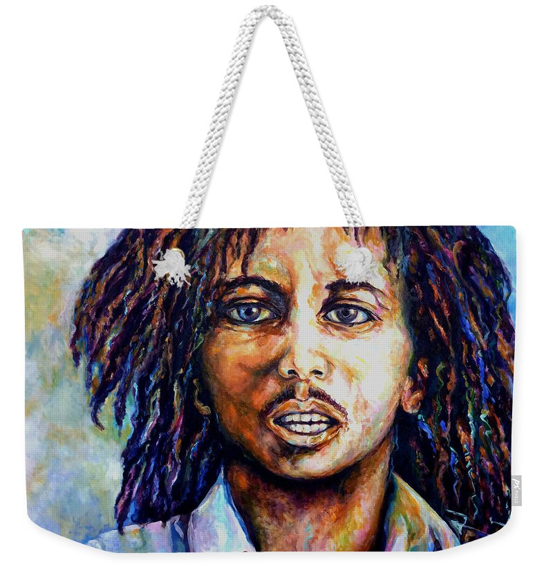 Original Fine Art By Lloyd Deberry Weekender Tote Bag featuring the painting Bob Marley by Lloyd DeBerry