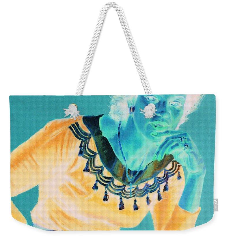 Portrait Weekender Tote Bag featuring the painting Bobbi by Jean Hildebrant