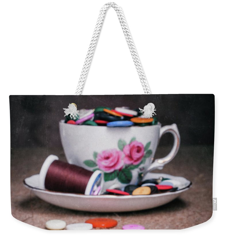 Bobbin Weekender Tote Bag featuring the photograph Bobbin And Buttons by Tom Mc Nemar