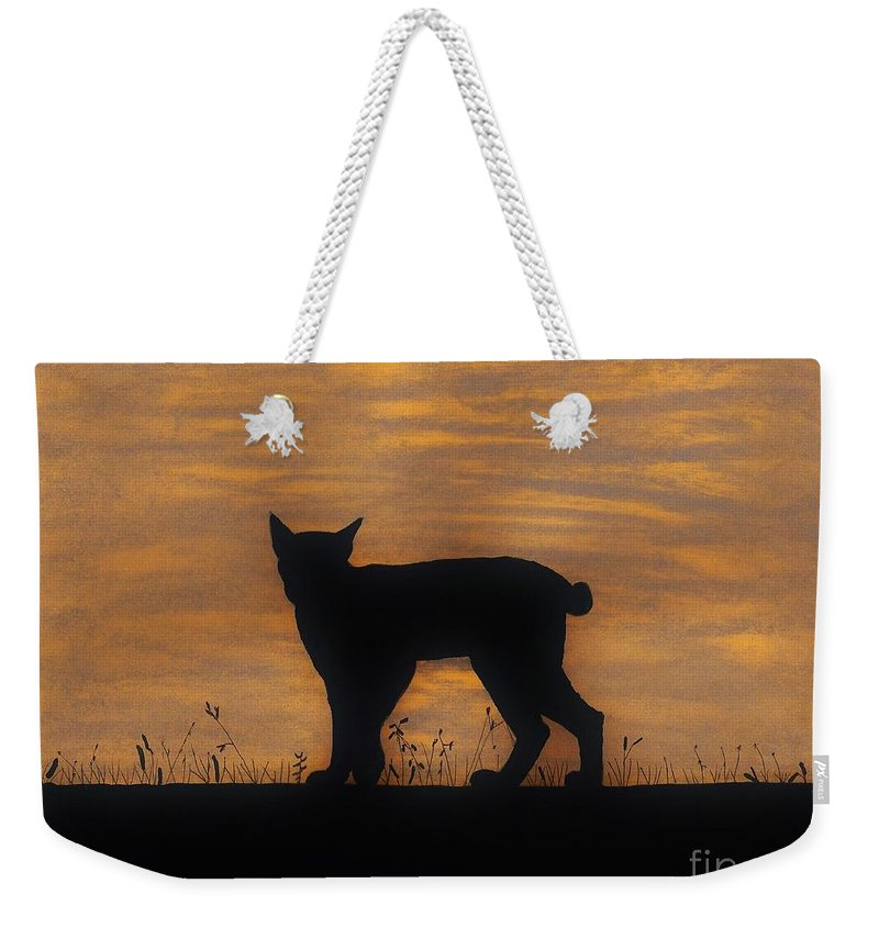 Bobcat Weekender Tote Bag featuring the drawing Bobcat - Sunset by D Hackett