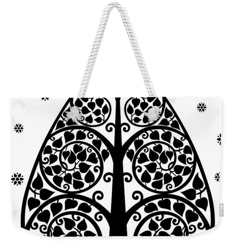 Bodhi Tree Weekender Tote Bag featuring the digital art Bodhi Tree_v-7 by Bobbi Freelance