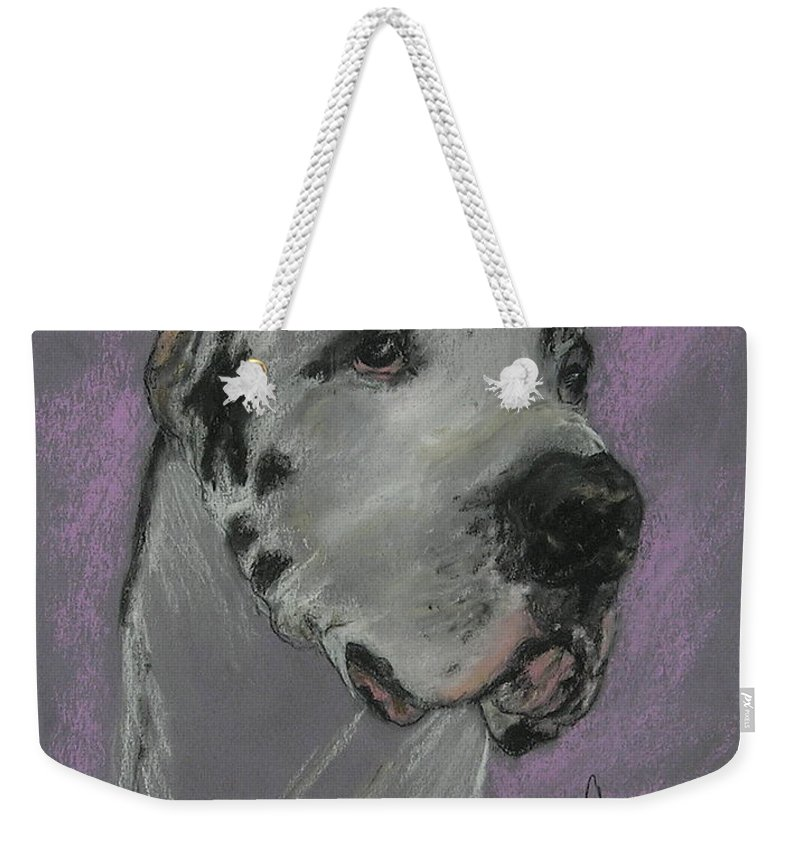 Great Dane Weekender Tote Bag featuring the drawing Bodhi's Mystique by Cori Solomon