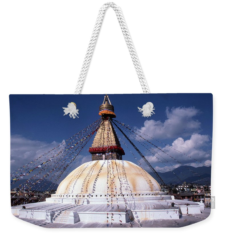 Bodhnath Stupa Weekender Tote Bag featuring the photograph Bodhnath Stupa by Patrick Klauss