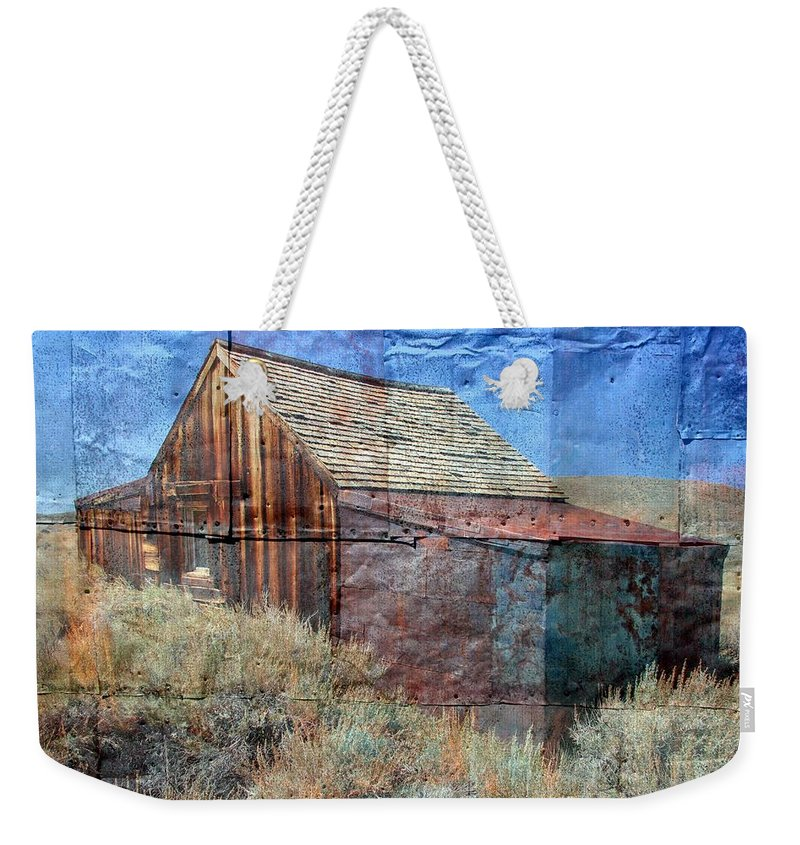 Old Building Weekender Tote Bag featuring the photograph Bodie Tin by Mary Bluepony