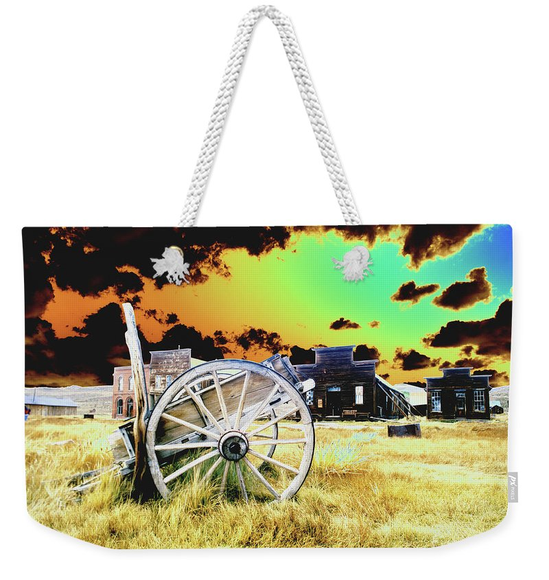 Bodie Weekender Tote Bag featuring the photograph Bodie Wagon by Jim And Emily Bush