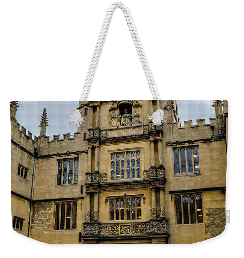 Bodleian Library Weekender Tote Bag featuring the photograph Bodleian Library Main Gate by Carol Berget