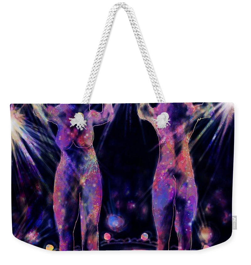 Abstract Weekender Tote Bag featuring the digital art Body Scan by Rachel Christine Nowicki