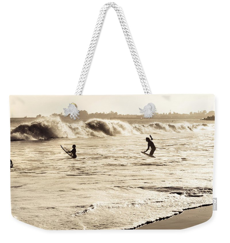 Body Surfing Weekender Tote Bag featuring the photograph Body Surfing Family by Marilyn Hunt
