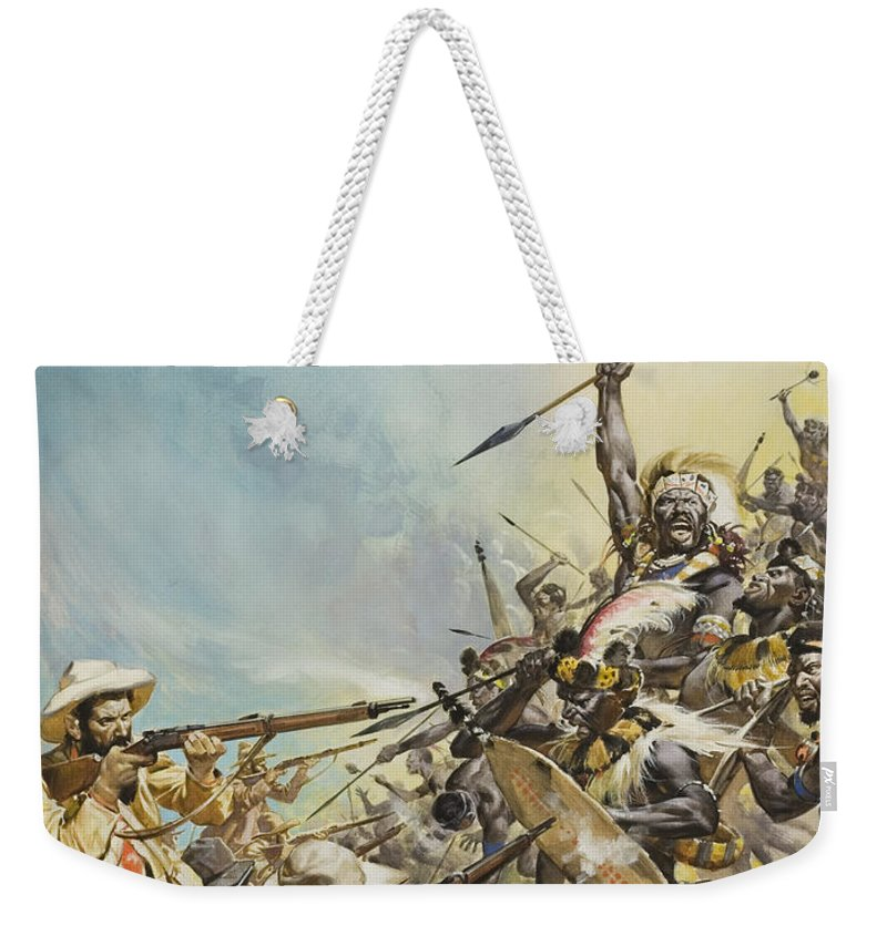 Boer; Zulus; Zulu; Soldier; Soldiers; Warrior; Warriors; Weapon; Weapons; Spear; Spears; Headdress; Headdresses; Colonialism; South Africa; Fight; Fighting; Gun; Rifle; Barbarian; Tribal; Primitivel Warfare Weekender Tote Bag featuring the painting Boers Fighting Natives by James Edwin McConnell