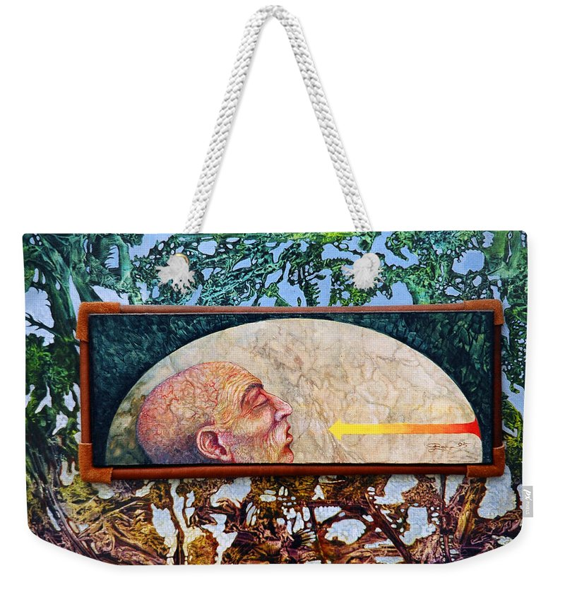 Surrealism Fantasy Fantastic Realism Decalcomania Otto Rapp The Mystic Weekender Tote Bag featuring the painting Bogomil Rising by Otto Rapp