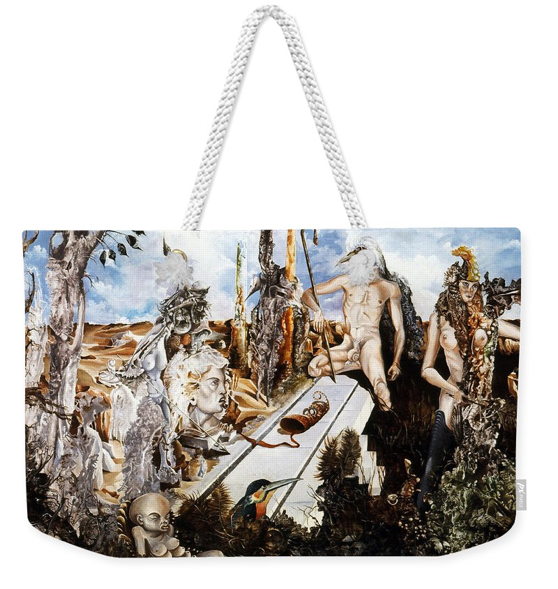 Surrealism Weekender Tote Bag featuring the painting Bogomils Court by Otto Rapp