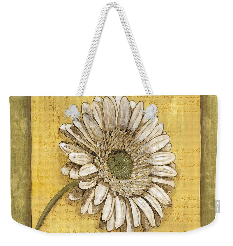 Daisy Weekender Tote Bag featuring the painting Bohemian Daisy 1 by Debbie DeWitt