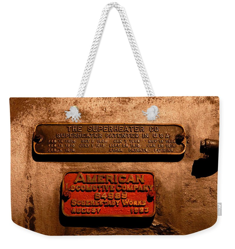 Boilerplate Plate Weekender Tote Bag featuring the photograph Boilerplates by David Lee Thompson