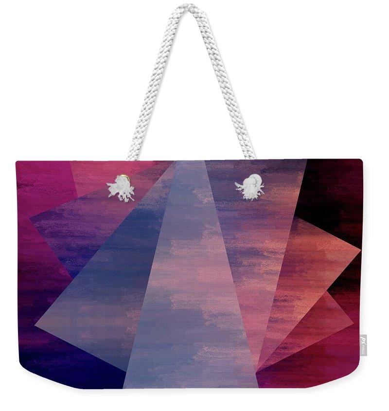 Brandi Fitzgerald Weekender Tote Bag featuring the digital art Bold Fuchsia And Blue Triangles by Brandi Fitzgerald