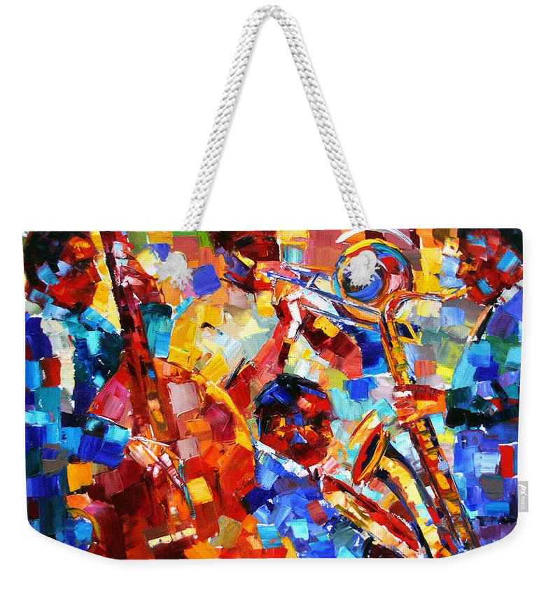Jazz Weekender Tote Bag featuring the painting Bold Jazz Quartet by Debra Hurd