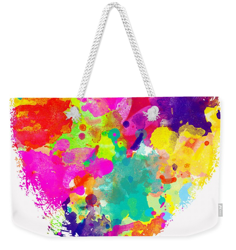 Heart Weekender Tote Bag featuring the photograph Bold Watercolor Heart - Digital Art by Debbie Portwood