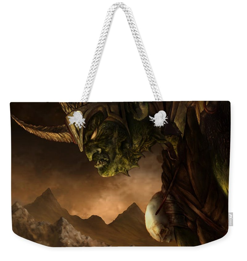 Goblin Weekender Tote Bag featuring the mixed media Bolg The Goblin King by Curtiss Shaffer