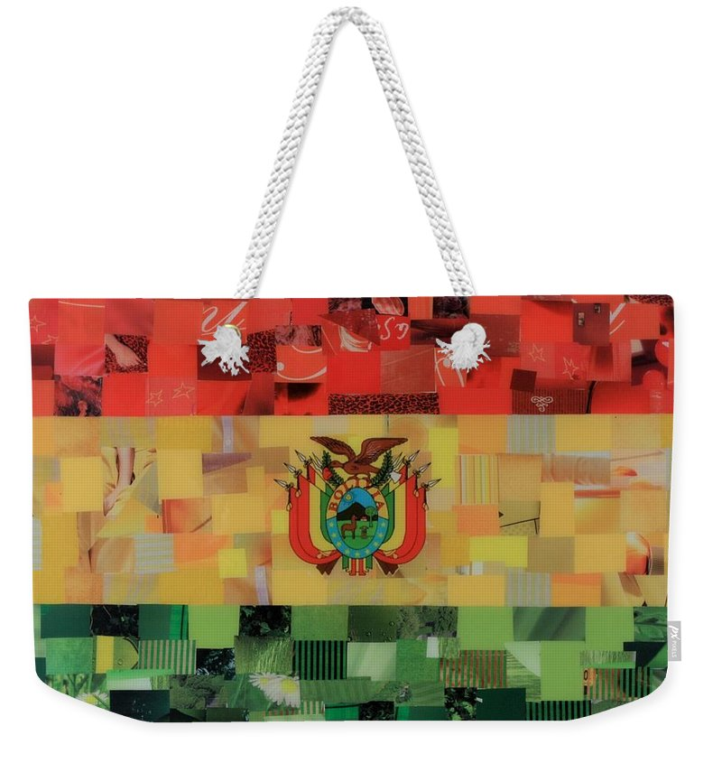 Bolivia Flag Weekender Tote Bag featuring the mixed media Bolivia Flag by Claudia Di Paolo