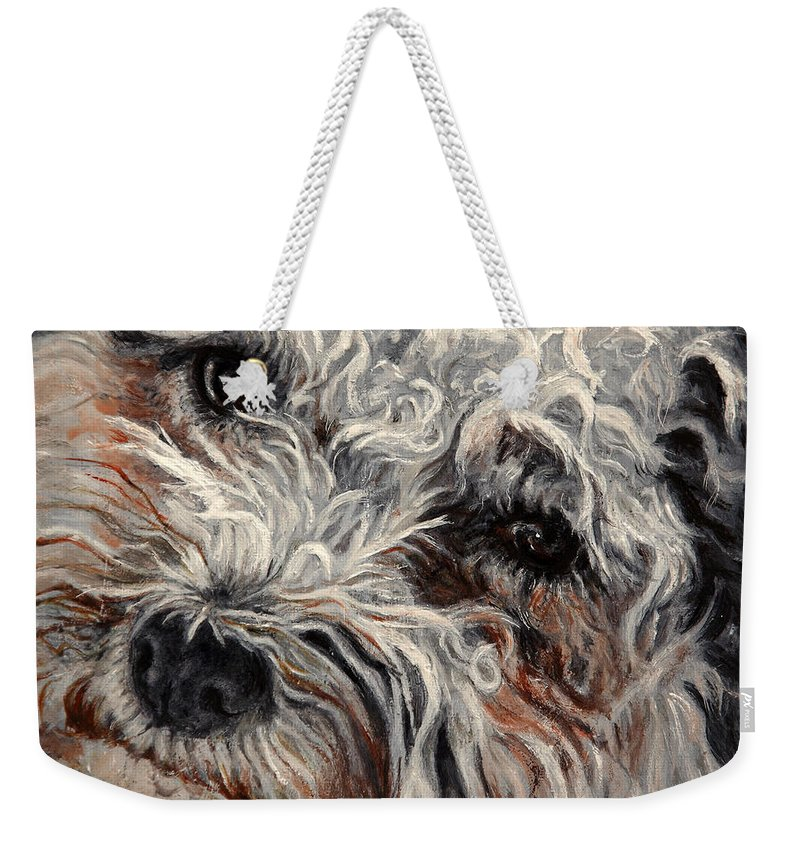 Pets Weekender Tote Bag featuring the painting Bolognese Breed by Portraits By NC