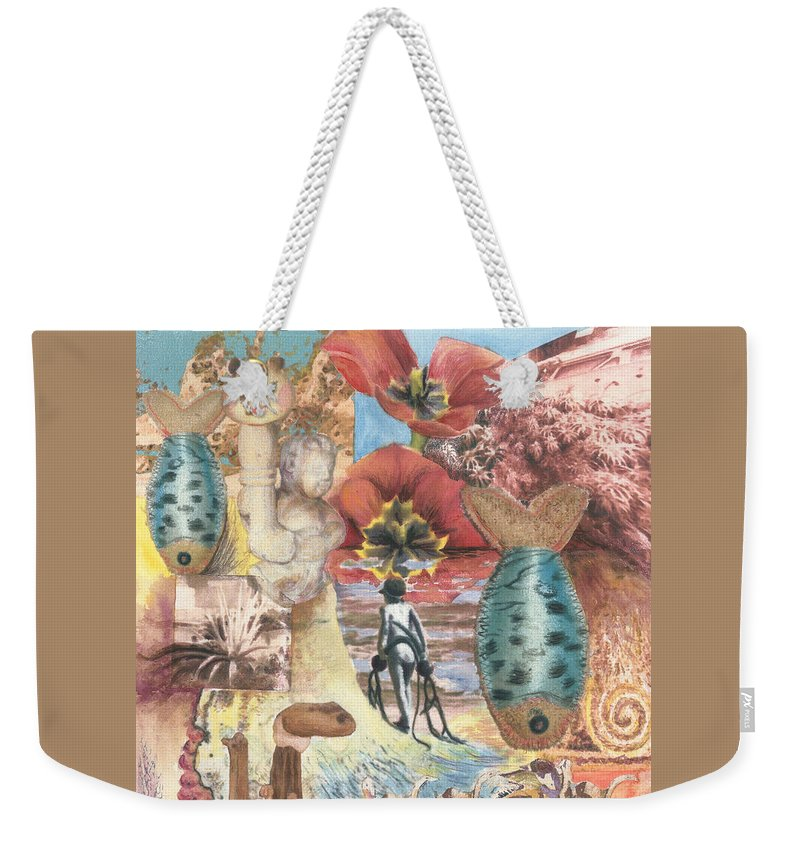Abstract Weekender Tote Bag featuring the digital art Bombs Away by Valerie Meotti