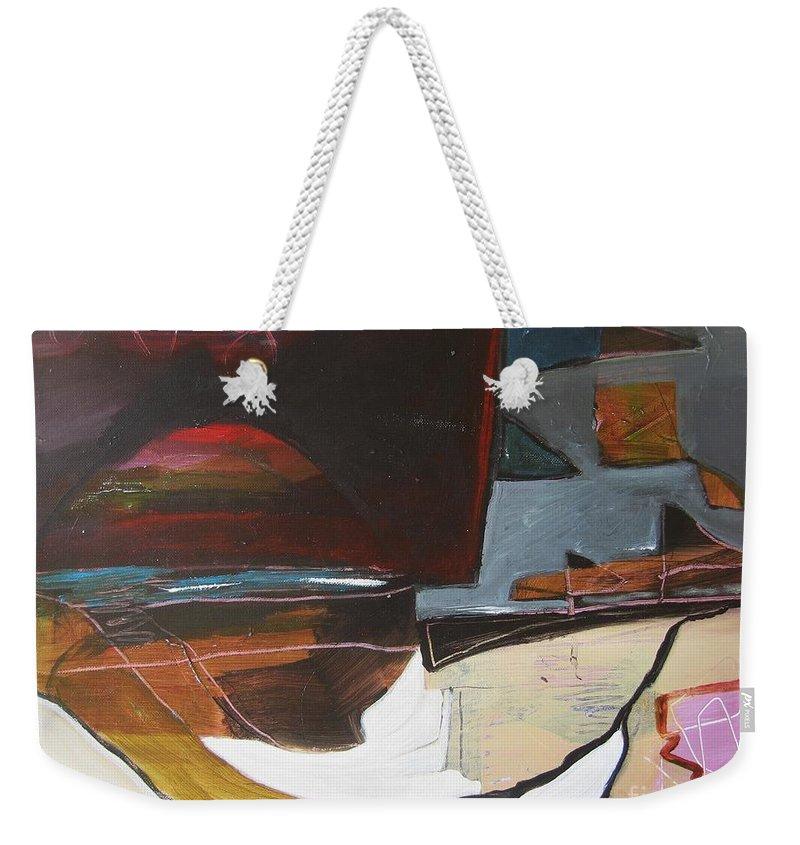 Abstract Atlantic Newfoundland Landscape Seascape Ocean Acrylic Paper Dusk Bonavista Canvas Weekender Tote Bag featuring the painting Bonavista At Dusk by Seon-Jeong Kim