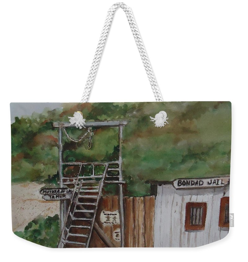 Jail Weekender Tote Bag featuring the painting Bondad Colorado Jail by Charme Curtin