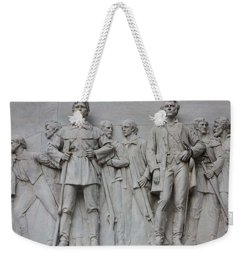 Alamo Weekender Tote Bag featuring the photograph Bonham And Bowie On Alamo Monument by Carol Groenen