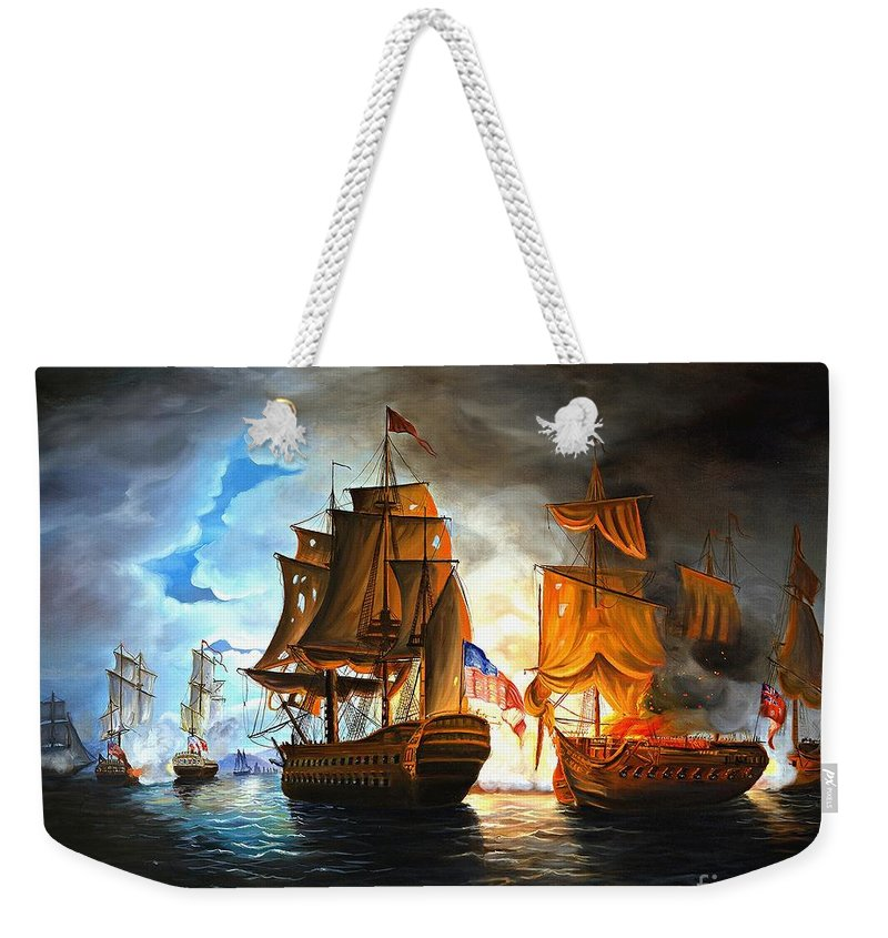Naval Battle Weekender Tote Bag featuring the painting Bonhomme Richard Engaging The Serapis In Battle by Paul Walsh