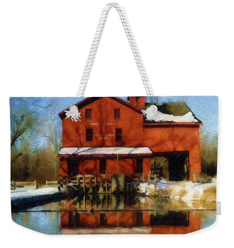 Bonneyville Mill Weekender Tote Bag featuring the photograph Bonneyville In Winter by Sandy MacGowan