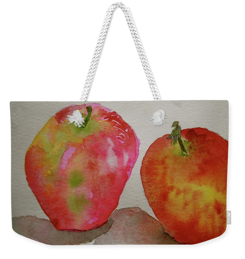 Apples Weekender Tote Bag featuring the painting Bonnie And Clyde by Beverley Harper Tinsley