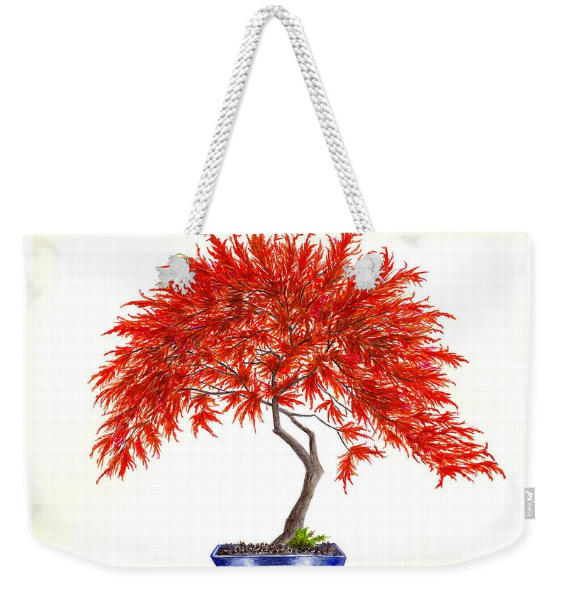 Oriental Weekender Tote Bag featuring the painting Bonsai Tree - Inaba Shidare by Michael Vigliotti