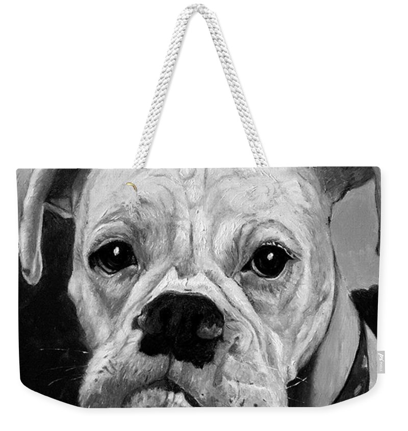 Boxer Weekender Tote Bag featuring the painting Boo The Boxer by Portraits By NC