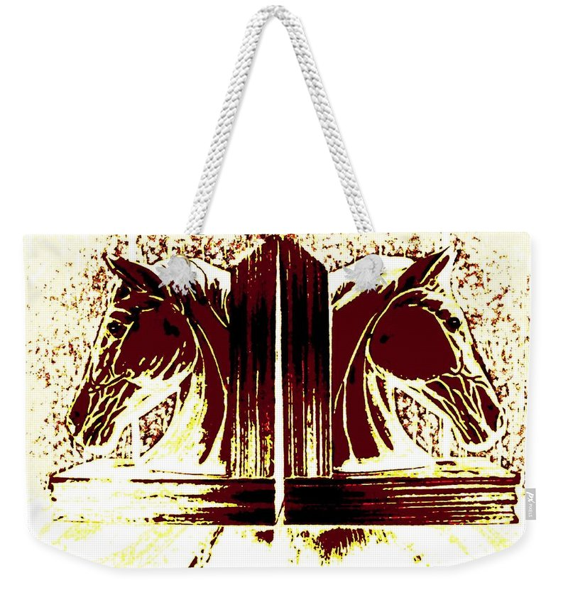Horses Weekender Tote Bag featuring the digital art Bookend Buddies by Will Borden