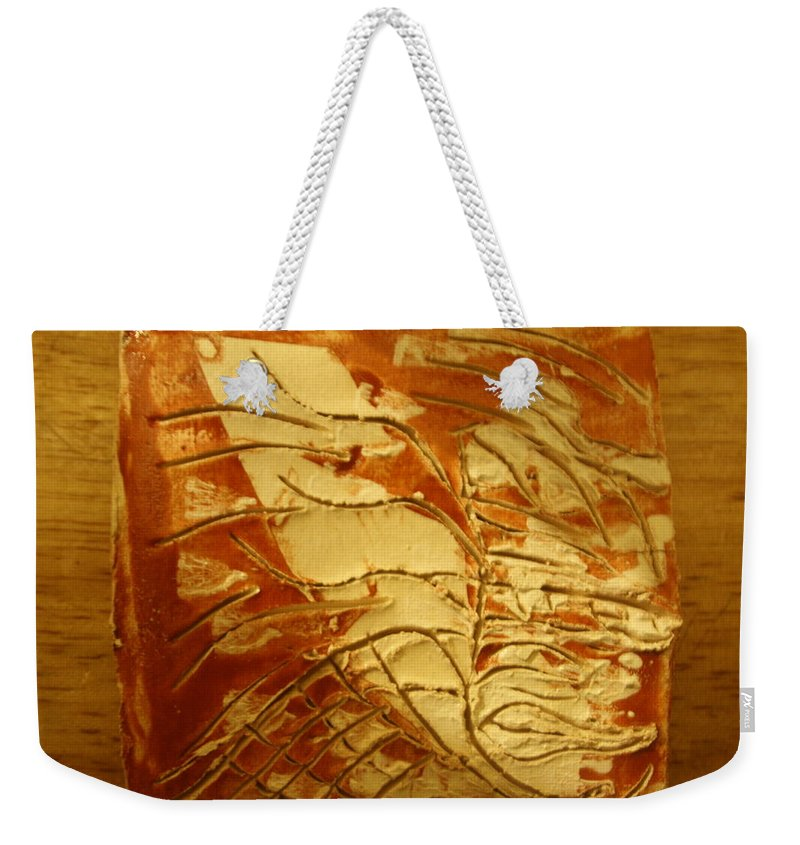Jesus Weekender Tote Bag featuring the ceramic art Boomerang - Tile by Gloria Ssali