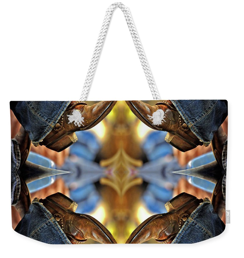 Boots Weekender Tote Bag featuring the photograph Boots Kaleidoscope by Joan Carroll