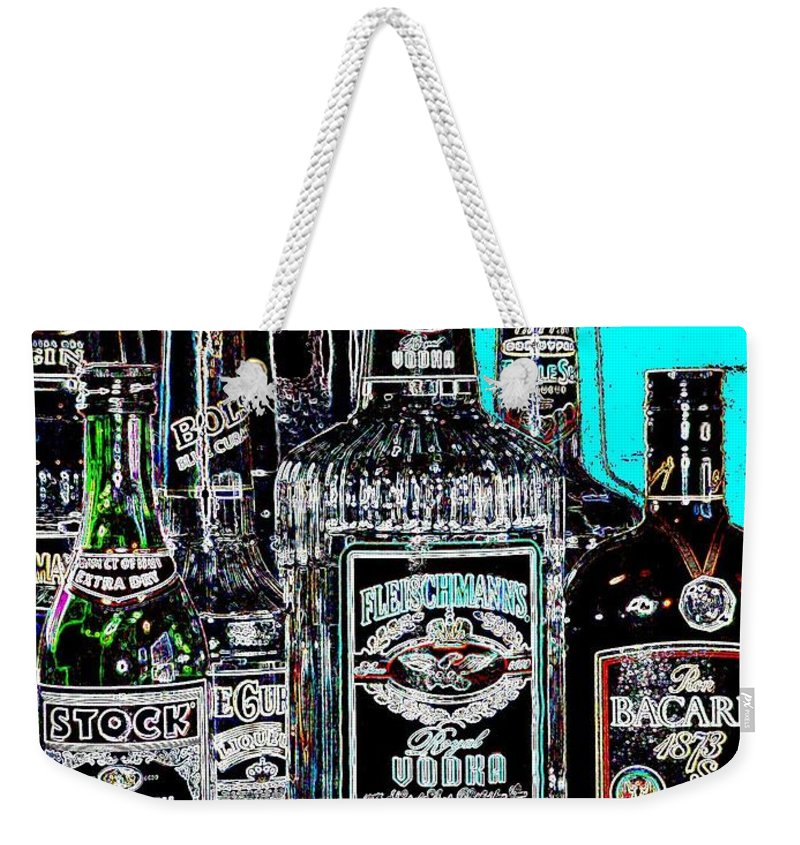 Bottles Weekender Tote Bag featuring the digital art Boozy Line Up With Aqua by Anita Burgermeister