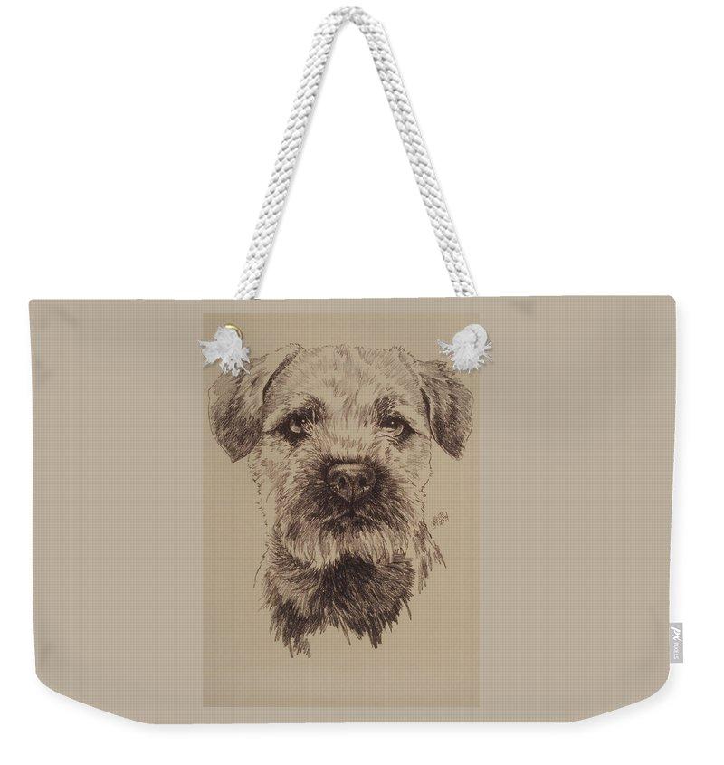 Art Weekender Tote Bag featuring the drawing Border Terrier by Barbara Keith