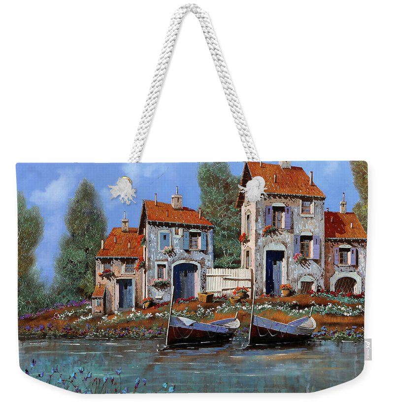 Riverscape Weekender Tote Bag featuring the painting Borgo Viola by Guido Borelli