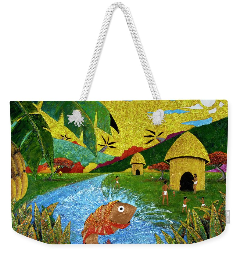 Tainos Weekender Tote Bag featuring the painting Boriken by Oscar Ortiz