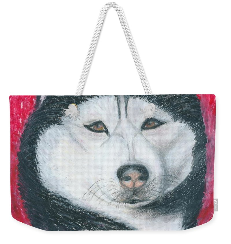 Siberian Husky Weekender Tote Bag featuring the drawing Boris The Siberian Husky by Ania M Milo
