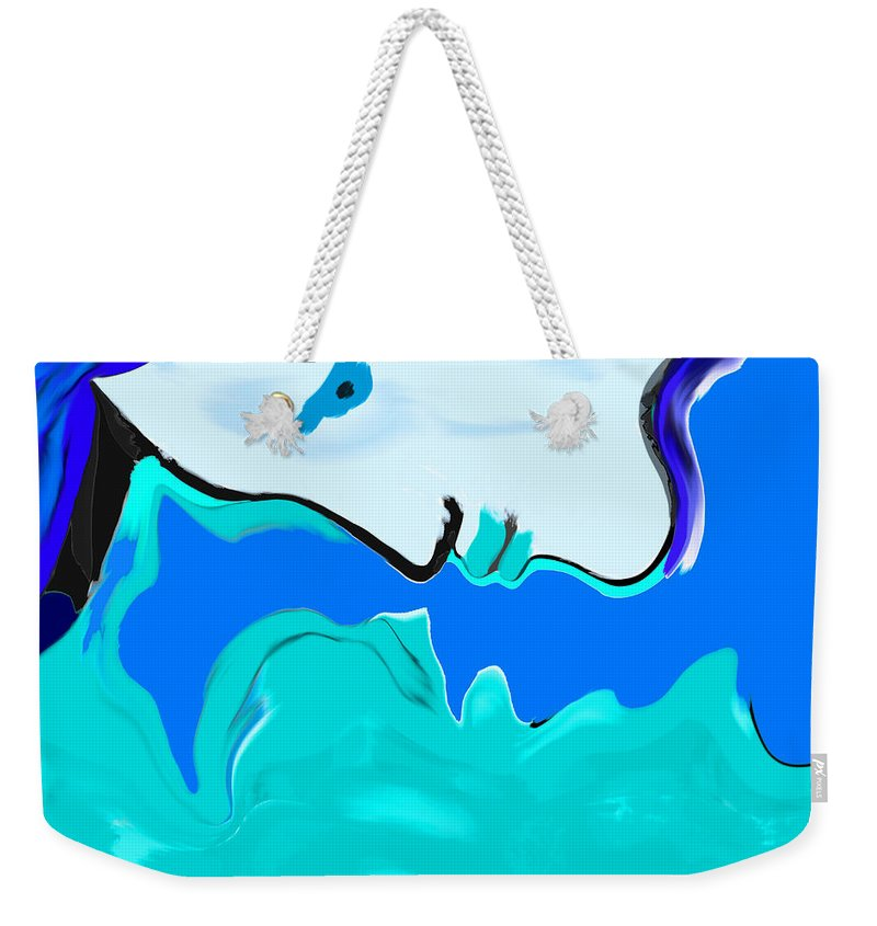 Woman Weekender Tote Bag featuring the painting Born Of The Ocean by Abstract Angel Artist Stephen K