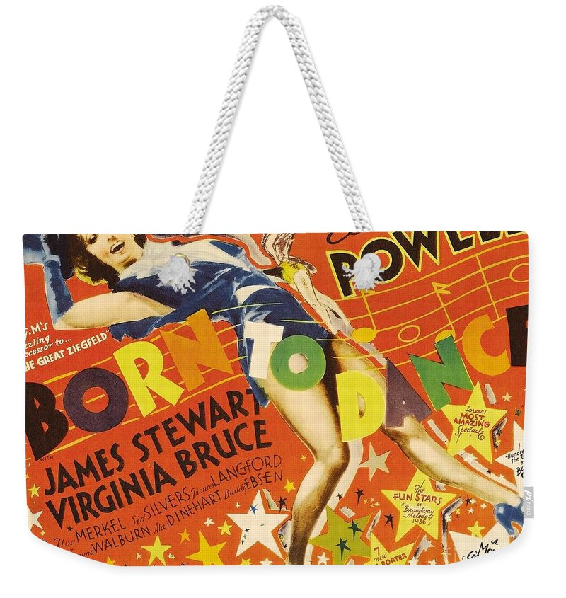 Eleanor Powell As Nora Paige Weekender Tote Bag featuring the painting Born To Dance 1936 Retro Movie Poster by R Muirhead Art