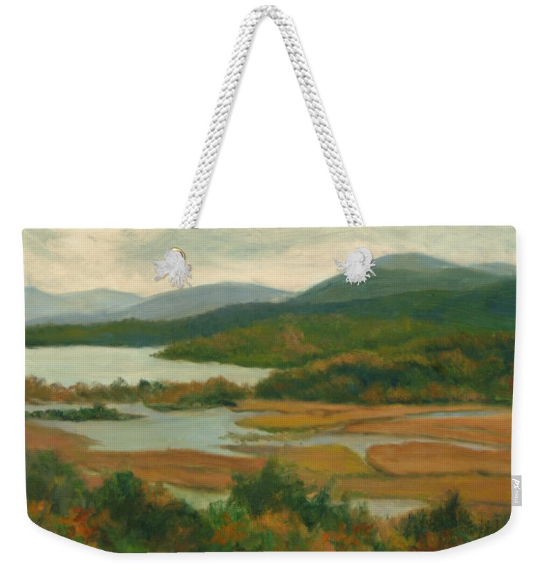 Landscape Weekender Tote Bag featuring the painting Boscobel Fall Colors by Phyllis Tarlow