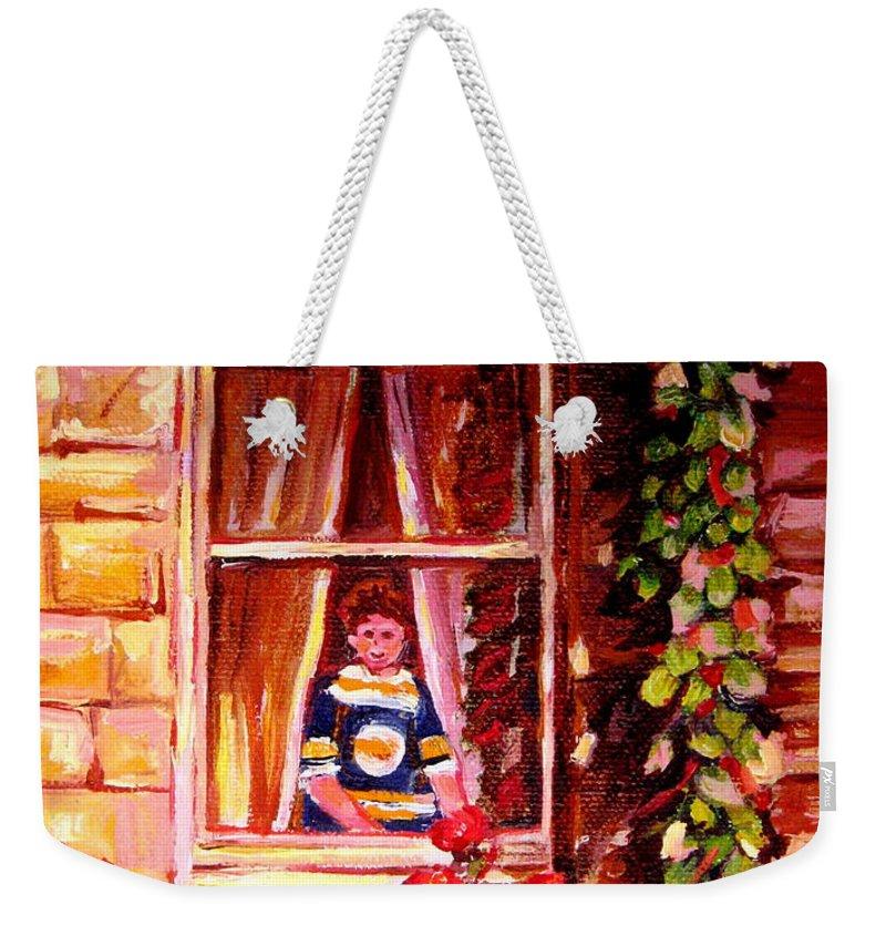 Boston Bruin Fan Weekender Tote Bag featuring the painting Boston Bruin Fan by Carole Spandau