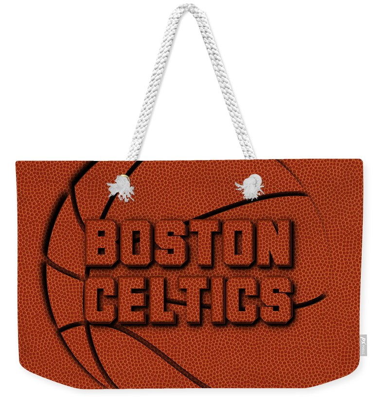 Celtics Weekender Tote Bag featuring the photograph Boston Celtics Leather Art by Joe Hamilton