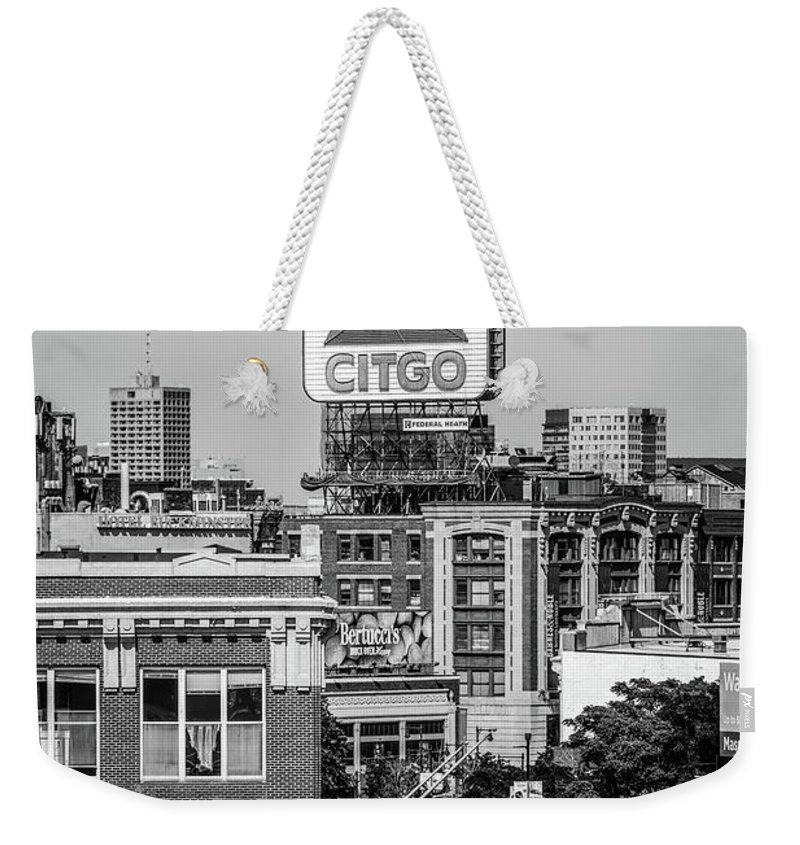 America Weekender Tote Bag featuring the photograph Boston Citgo Sign Black And White Photo by Paul Velgos