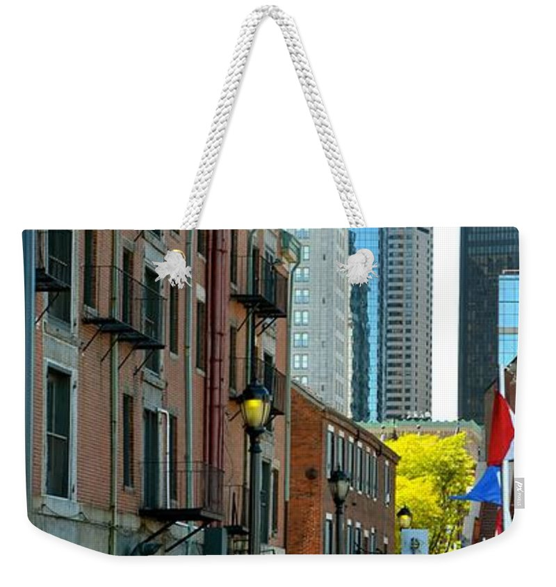 Boston Weekender Tote Bag featuring the photograph Boston Custom House by Corinne Rhode