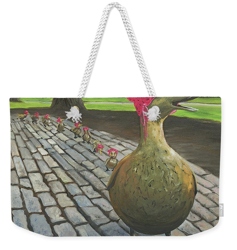 Make Way For Ducklings Weekender Tote Bag featuring the painting Boston Ducklings Getting Their Pink On by Lynn Ricci