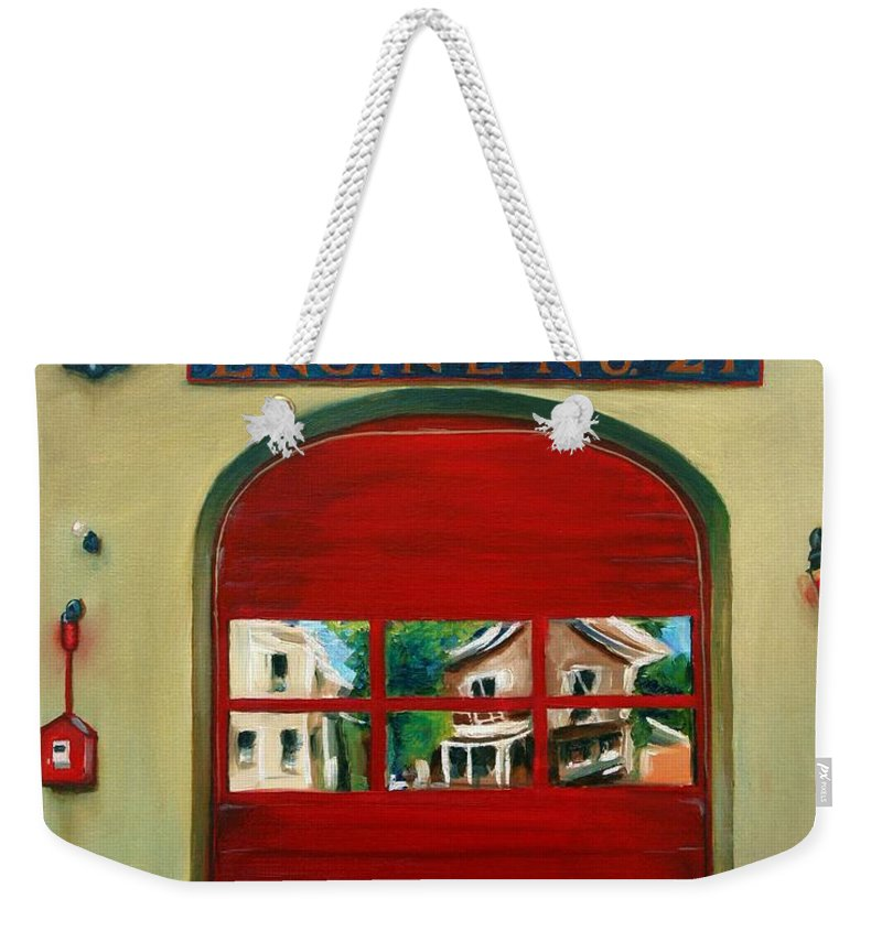 Fire House Weekender Tote Bag featuring the painting Boston Fire Engine 21 by Paul Walsh