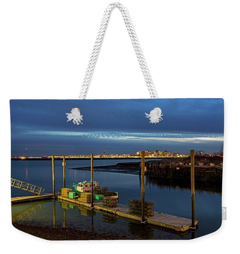 Boston Weekender Tote Bag featuring the photograph Boston Ma Belle Isle Boat Pier And Skyline Logan Airport by Toby McGuire